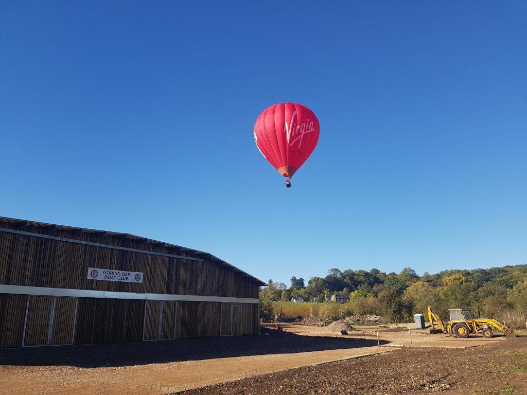Virgin balloon above the boathouse